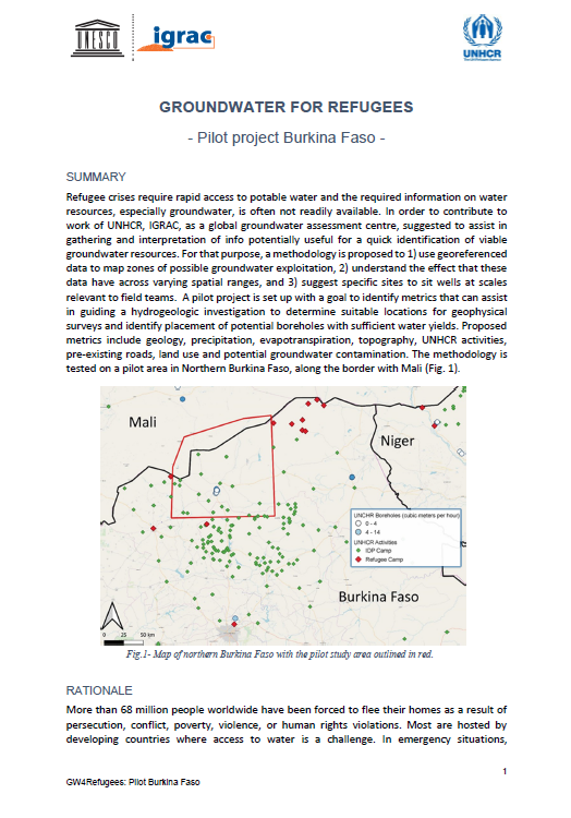 Groundwater for Refugees - pilot project in Burkina Faso