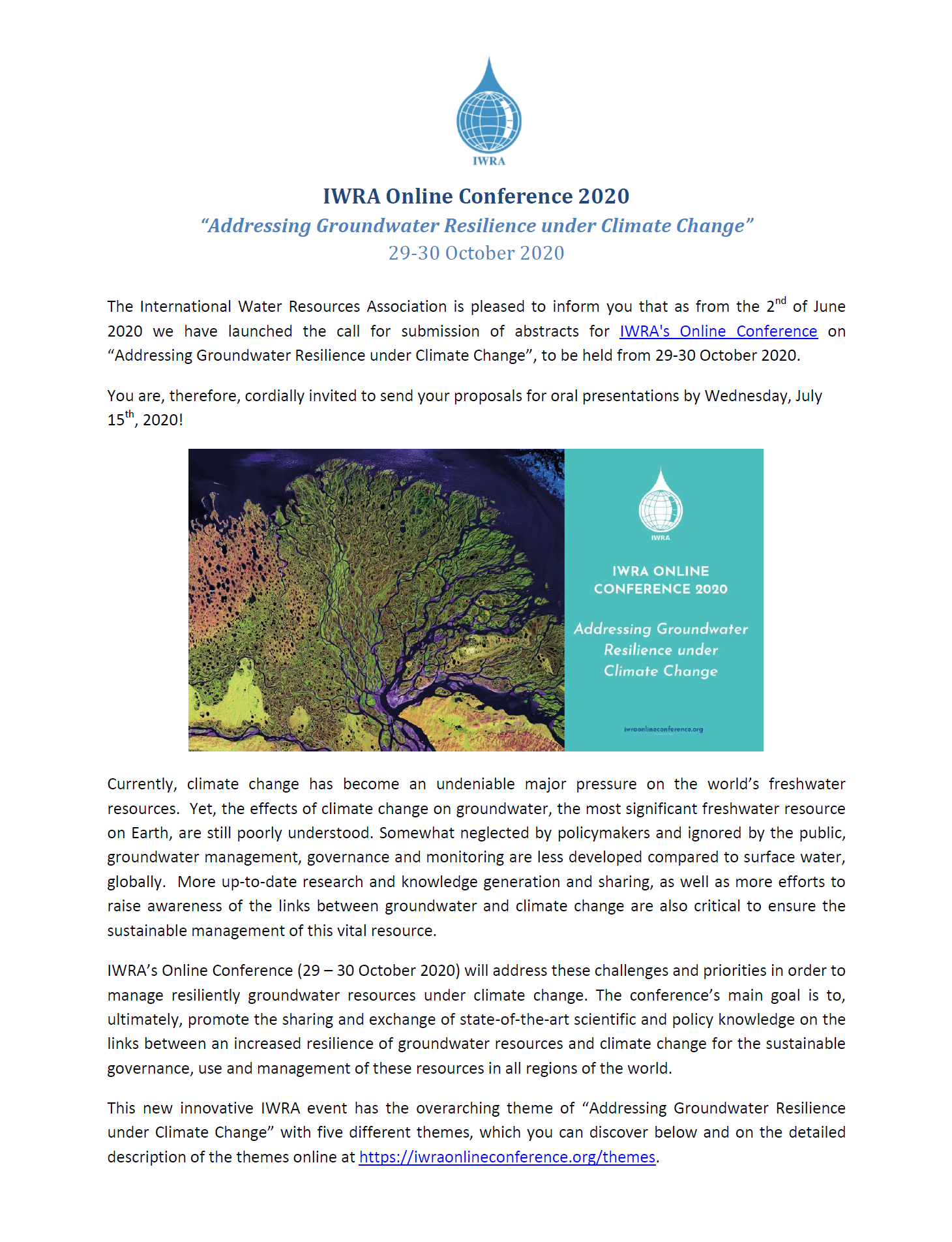 IWRA online conference - Call for abstracts