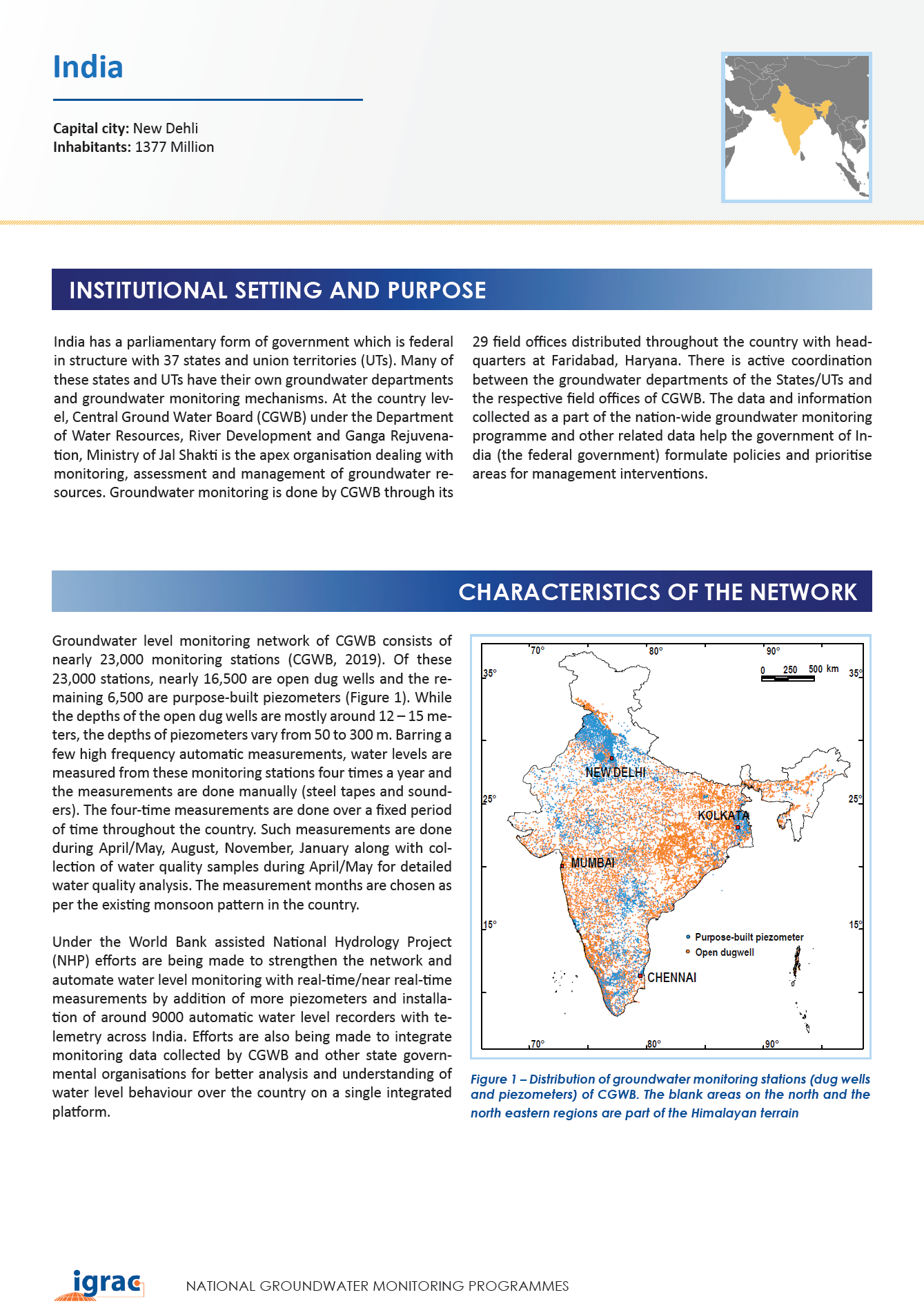 Groundwater monitoring country profile - India