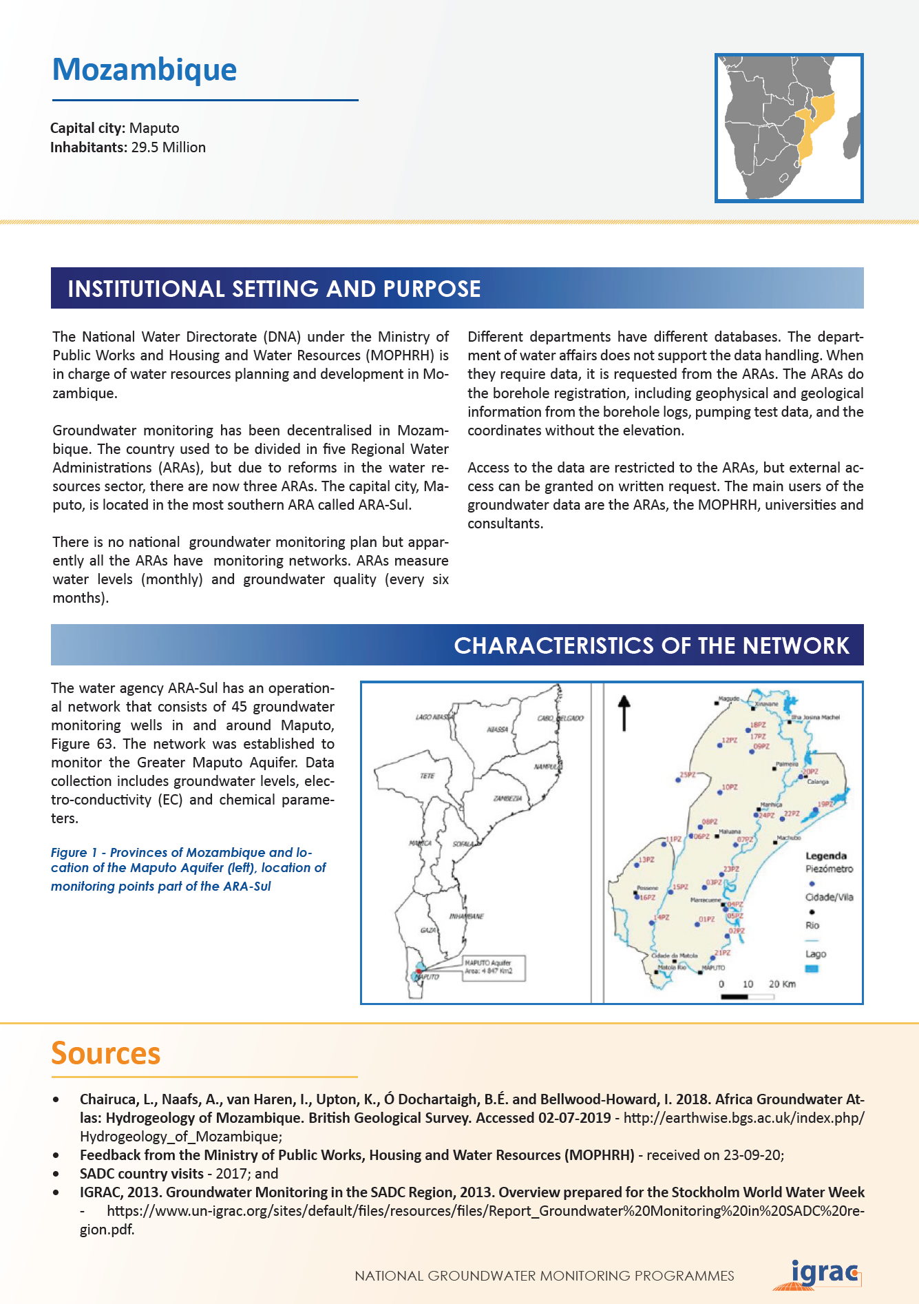 Groundwater monitoring country profile - Mozambique