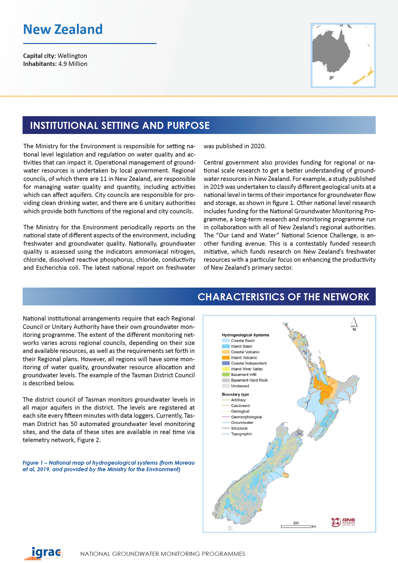Groundwater monitoring country profile - New Zealand