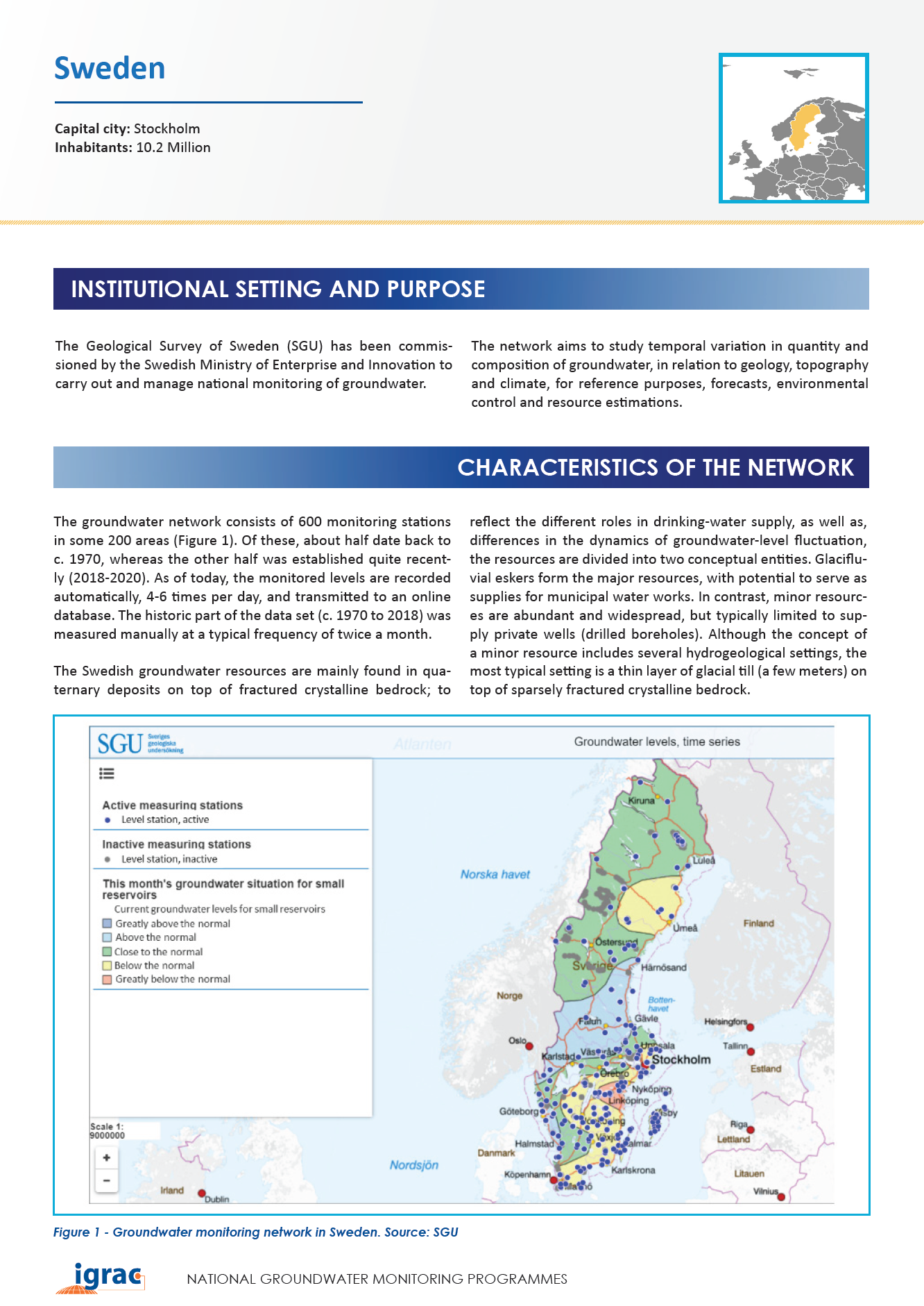 Groundwater monitoring country profile - Sweden