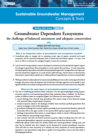Groundwater Dependent Ecosystems: characterisation procedures and conservation measures (GW-MATE)