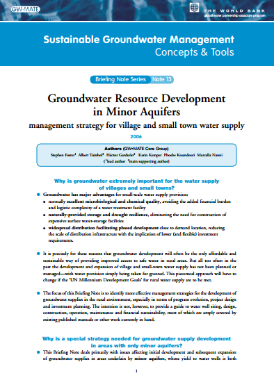 Groundwater Resource Development in Minor Aquifers: management strategy for village and small town water supply (GW-MATE)