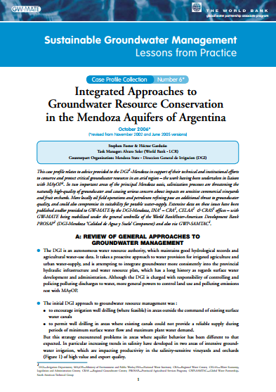 Argentina - Integrated approaches to groundwater resources conservation in the Mendoza aquifers (GW-MATE Case study)