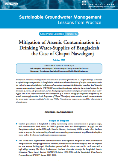 Bangladesh - Managing the sustainable development of groundwater for arsenic-safe water supplies (GW-MATE Case Study)