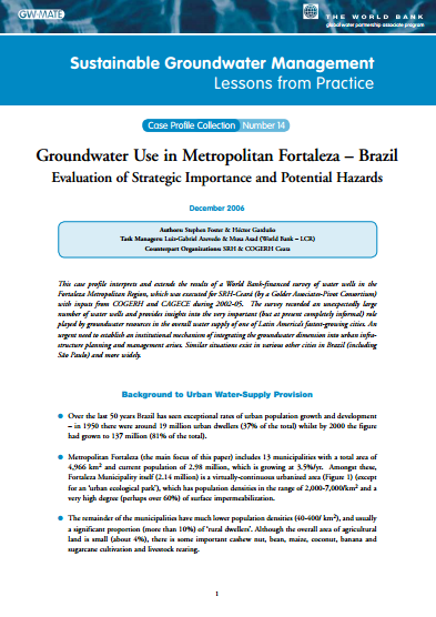 Brazil - GW use in Metropolitan Fortaleza: evaluating its strategic importance and potential hazard (GW-MATE Case Study)