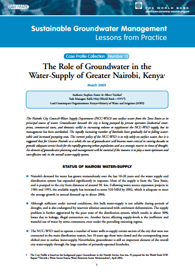 Kenya - The role of groundwater in the water supply of Greater Nairobi (GW-MATE Case Study)