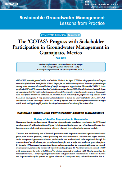 Mexico - The 'Cotas': progress with stakeholder participation in GW management in Guanajuato (GW-MATE Case Study)