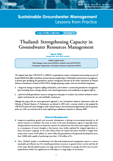Thailand - Strengthening capacity in groundwater resources management (GW-MATE Case study)