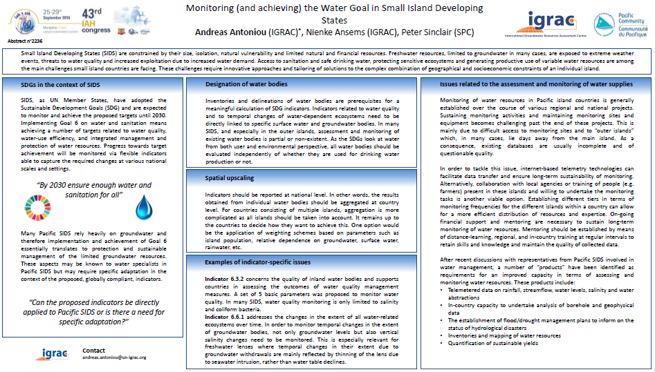 Monitoring (and achieving) the Sustainable Development Goal (SDG) on Water in Small Island Developing States