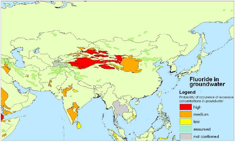 Fluoride in groundwater in Asia