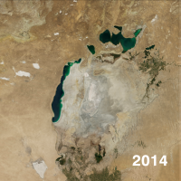 NASA Satellite image of shrinking Aral Sea in 2014