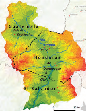 Topographic map of the Upper Lempa sub-basin