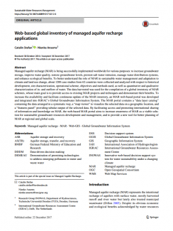 Web-based global inventory of managed aquifer recharge applications