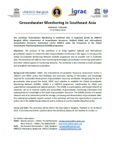 Announcement Groundwater monitoring workshop - Bangkok 15-16 March