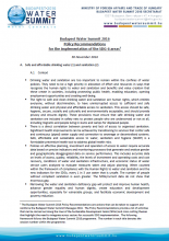 Budapest Water Summit: Policy Recommendations for implementation of the SDG6 areas
