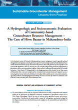 India - A hydrogeologic and socio-economic evaluation of community based GWM - the case of Hivre Bazaar (GW-MATE Case Study)