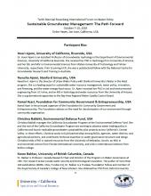 Participant bios - Rosenberg International Forum on Water Policy 2018