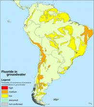 Fluoride in groundwater in South America
